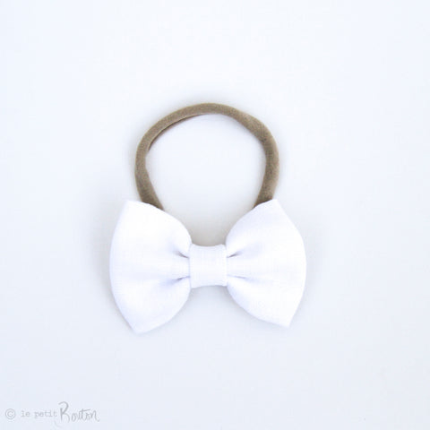 Large Linen Bow Headband - Crisp White