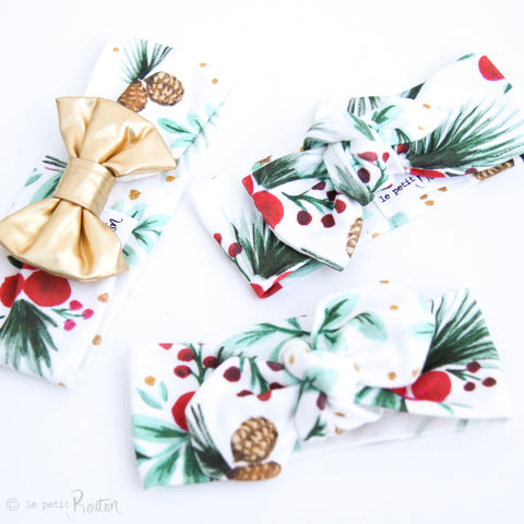Christmas Organic Cotton & Faux Leather Bow Turban Headband - Christmas Pine - LAST ONE