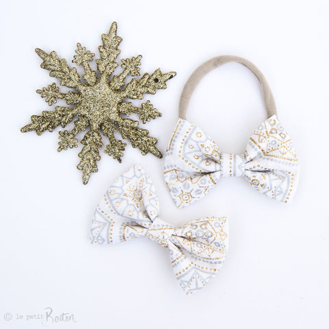 Christmas Large Shimmer Bow On Nylon Headband - Twinkle Twinkle