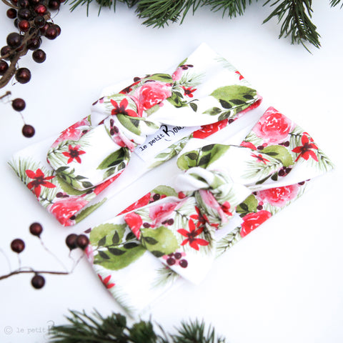 Christmas Organic Cotton Bow Knot Headband - Christmas Floral