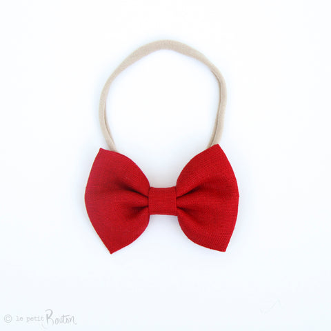 Christmas Large Linen Bow on Nylon Headband - Christmas Red