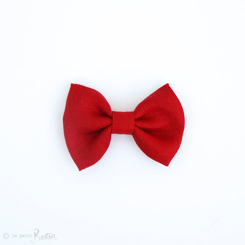 Christmas Large Linen Bow Hair Clip - Christmas Red