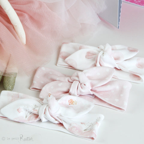 Newborn Organic Cotton Top Knot Headband - Exclusive Pink Marshmallow