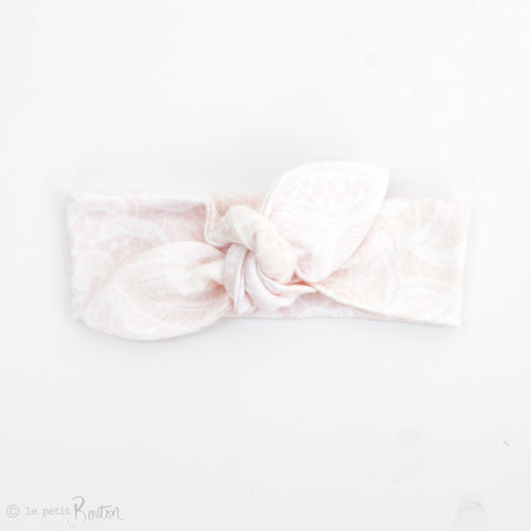 Newborn Organic Cotton Top Knot Headband - Blush Lace