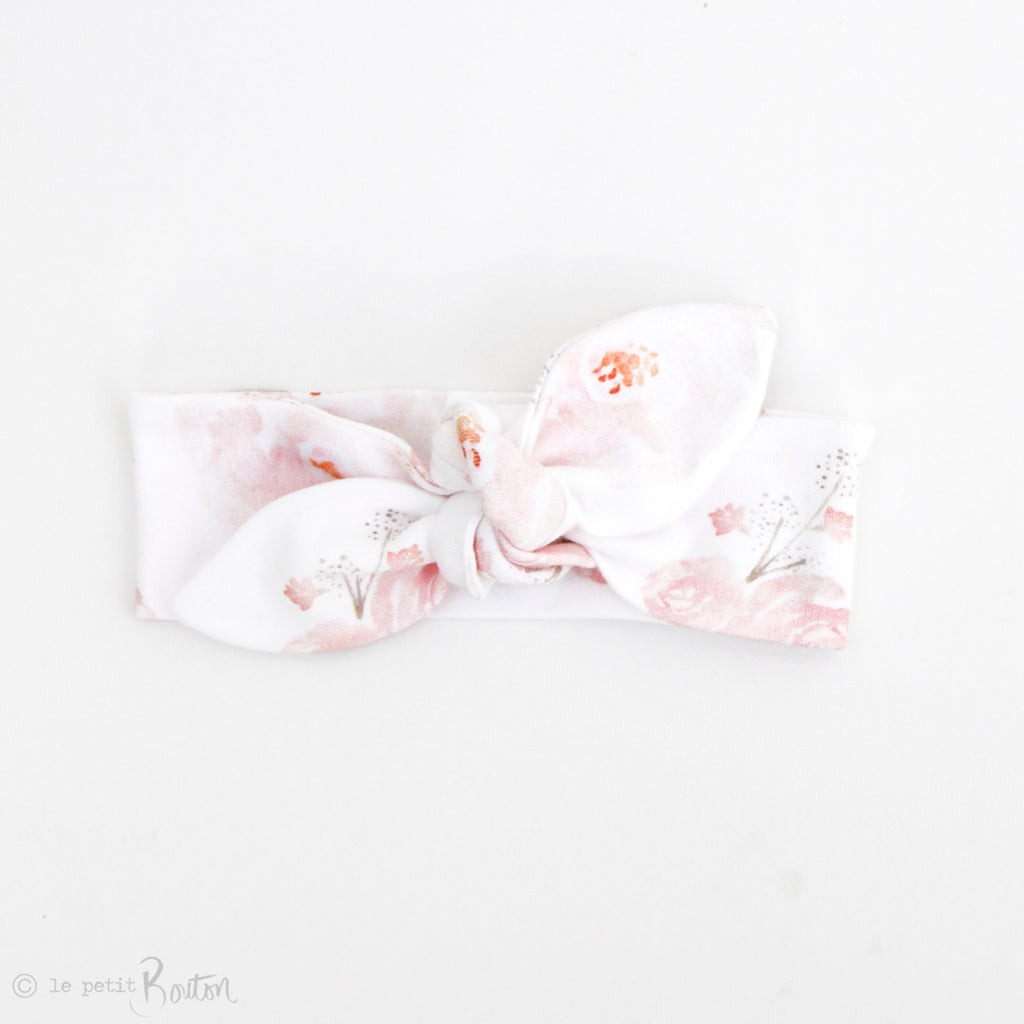 Newborn Organic Cotton Top Knot Headband - Pretty Peony