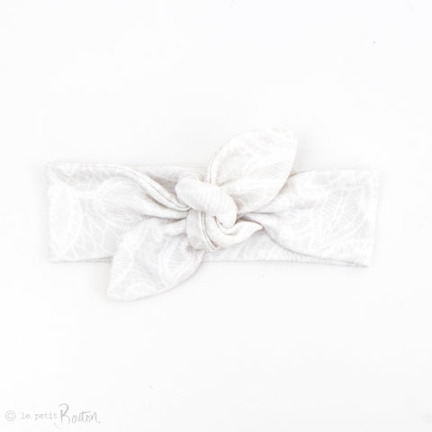 Newborn Organic Cotton Top Knot Headband - Soft Grey Lace