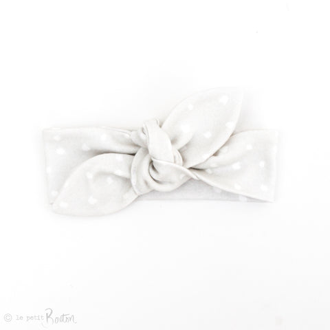 Newborn Organic Cotton Top Knot Headband - Cloud Grey