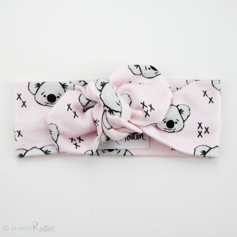 Australiana Organic Cotton Top Knot Headband - Koalas in Fairy Floss Pink