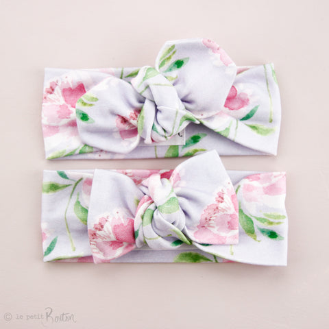 '18 Organic Cotton Top knot Headband - Lilac & Peonies