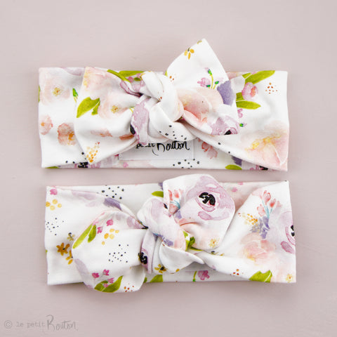 '18 Organic Cotton Bow knot Headband - Lilac Floral