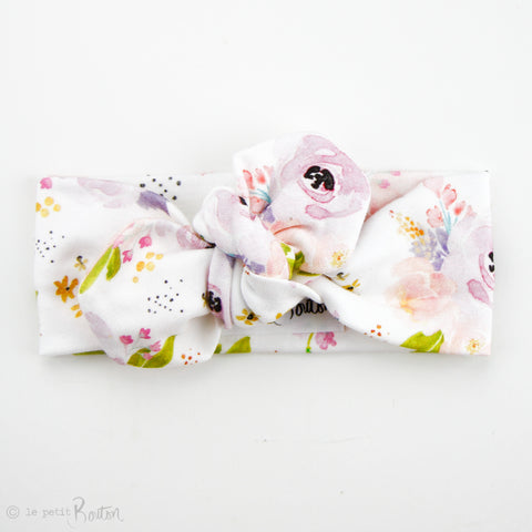 '18 Organic Cotton Top knot Headband - Lilac Floral