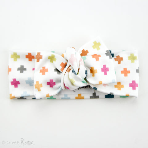Organic Cotton Bow Knot Headband - Pastel Crosses