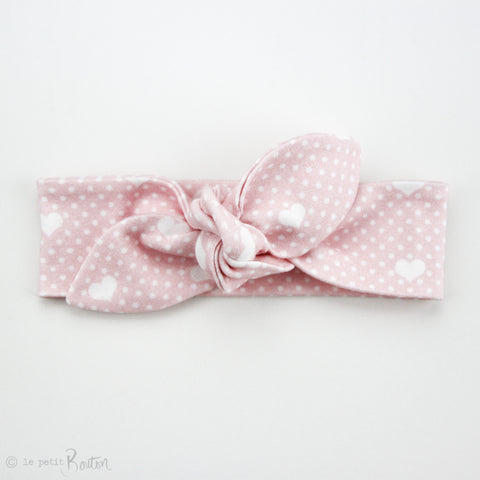 Valentines Organic Cotton Slim Top Knot Headband - All The Hearts