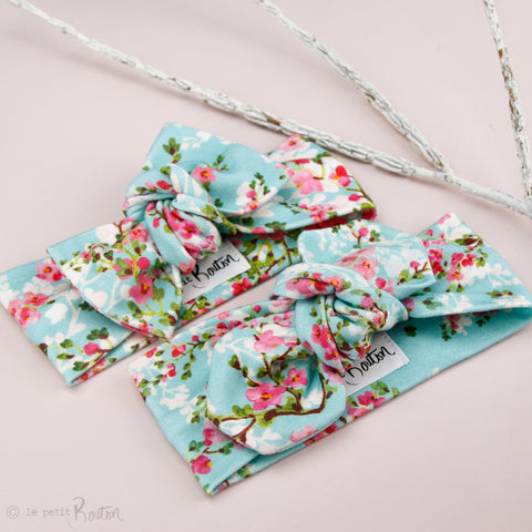 '18 Organic Cotton Top Knot Headband - Teal Cherry Blossom