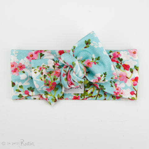 '18 Organic Cotton Bow Knot Headband - Teal Cherry Blossom