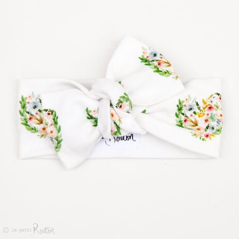 Valentines Organic Cotton Bow Knot Headband - Floral Love