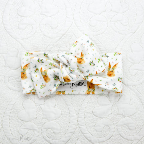 Easter18 Organic Cotton Bow Knot Headband - Some Bunny Loves You , White