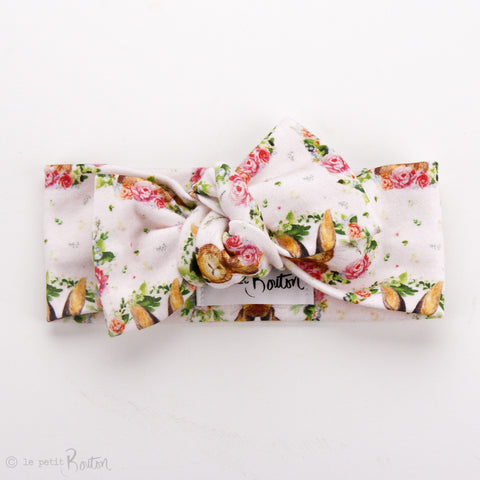 Easter18 Organic Cotton Bow Knot Headband - Bunny Love, Bellerina Pink