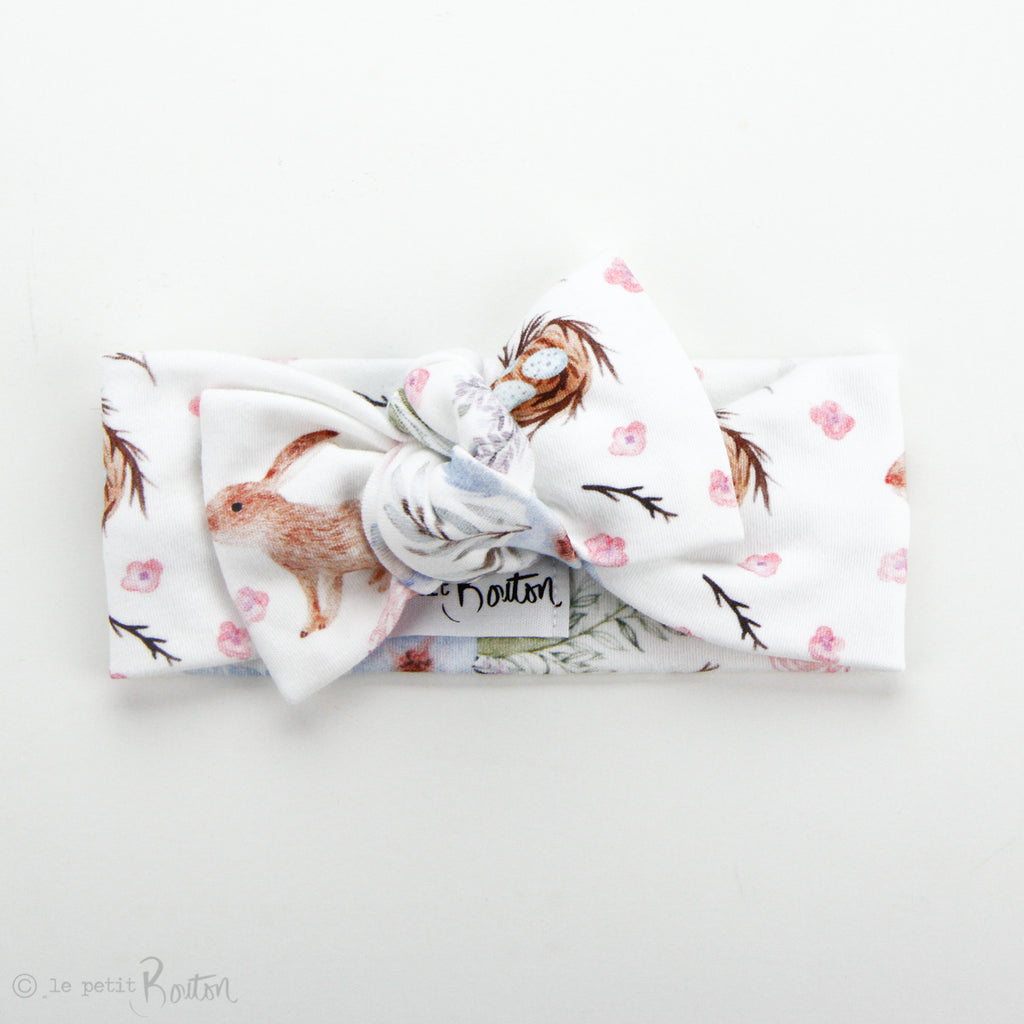 Easter Organic Cotton Bow Knot Headband - Chestnut The Bunny