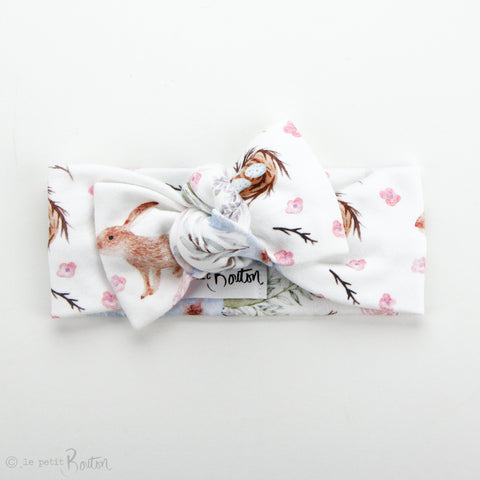 Easter Drop 1 - Organic Cotton Bow Knot Headband - Chestnut The Bunny