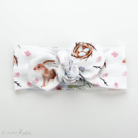 Easter Organic Cotton Top Knot Headband - Chestnut The Bunny