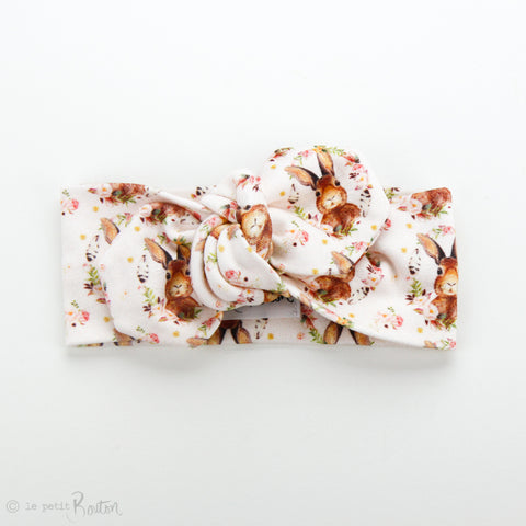 Easter18 Organic Cotton Top Knot Headband - Guess How Much I Love You, Soft Blush
