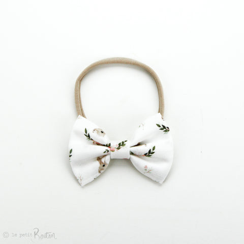 Easter Large Linen Bow on Nylon Headband