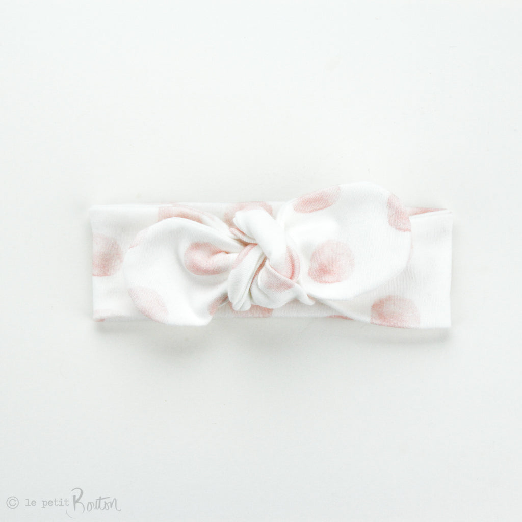 Newborn Organic Cotton Top Knot Headband - Round End - Exclusive Pink Marshmellow