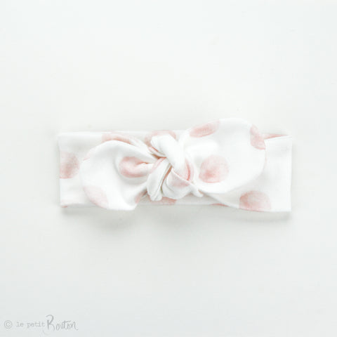 Newborn Organic Cotton Top Knot Headband, Round End - Exclusive Pink Marshmellow