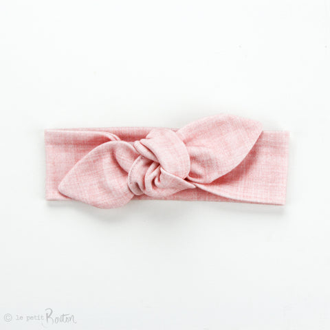 Newborn Organic Cotton Top Knot Headband - Pink Linen Print