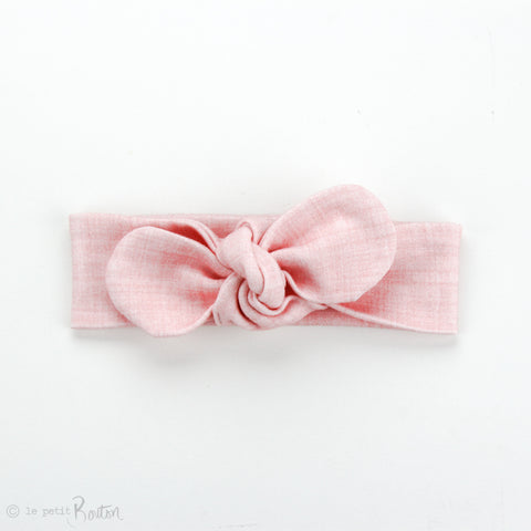 Newborn Organic Cotton Top Knot Headband Round End - Pink Linen Print