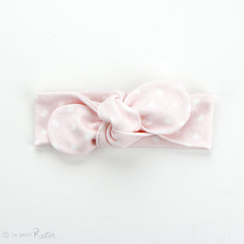 Newborn Organic Cotton Top Knot Headband, Round End - Fairy Floss