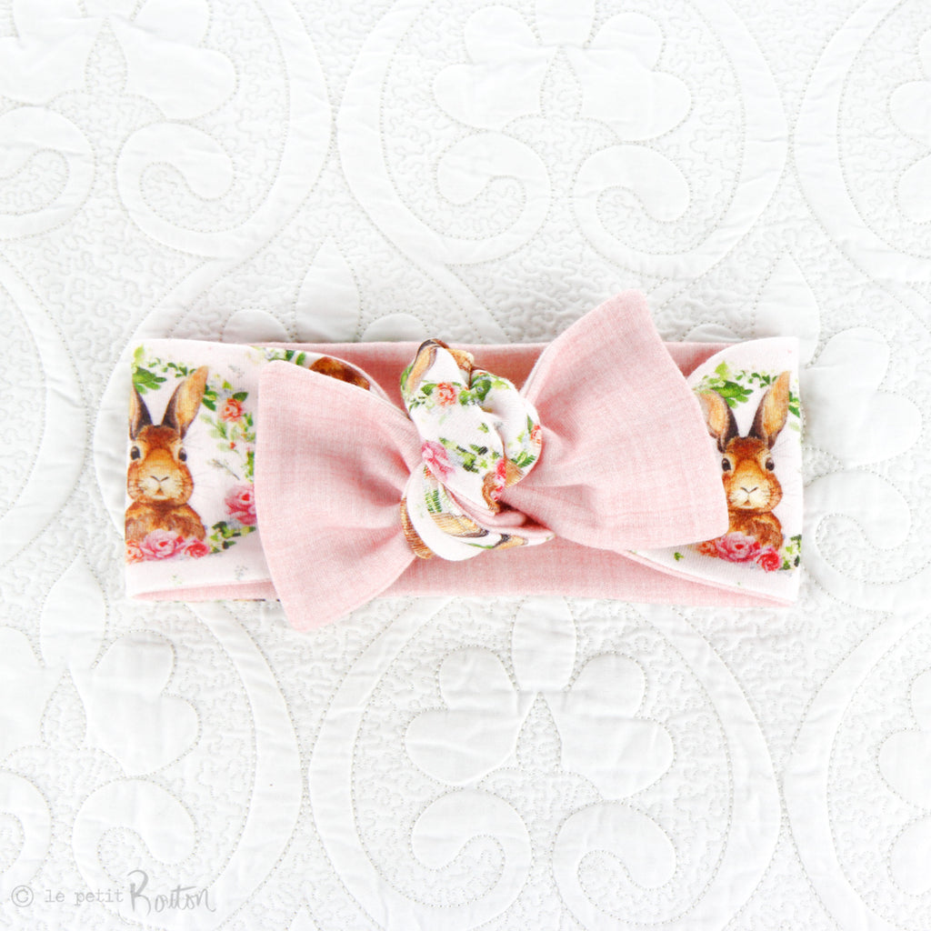 Easter Organic Cotton Reversible Bow Knot Headband - Pretty In Pink