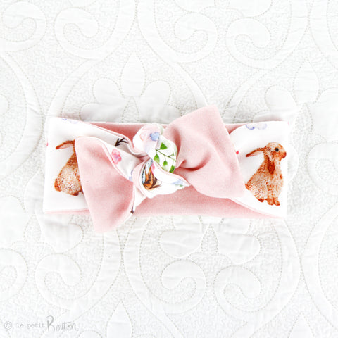 Easter Organic Cotton Reversible Bow Knot Headband - Chestnut The Bunny