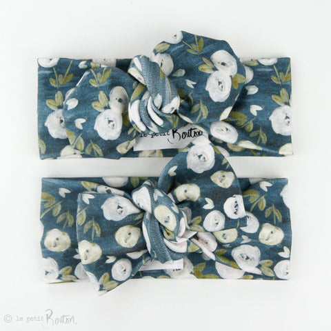 Organic Cotton Top Knot Headband - Ocean Floral - 1 LEFT