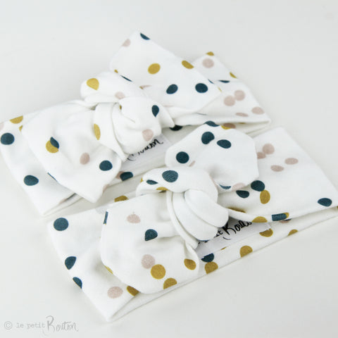 Autumn18 Organic Cotton Top Knot Headband -  Fall Polkadots