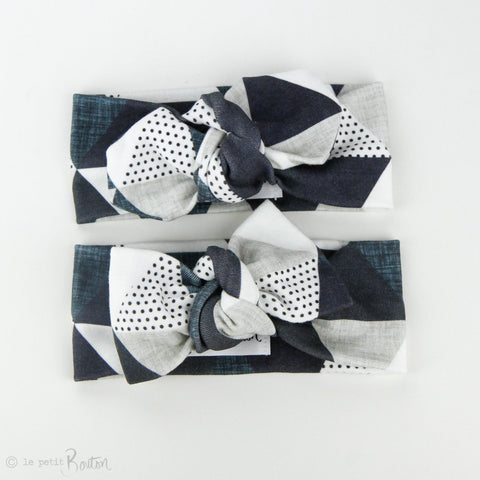 Autumn18 Organic Cotton Bow Knot Headband -  Slate Triangles