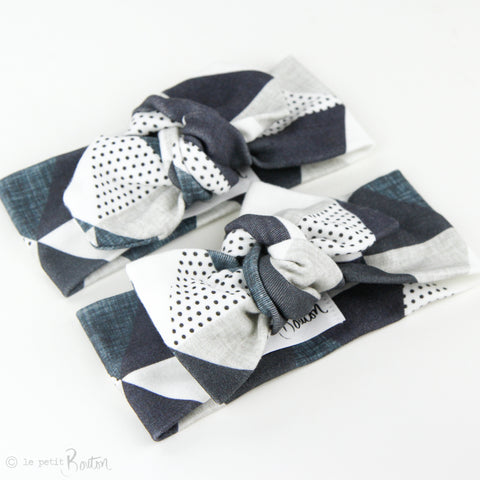 Autumn18 Organic Cotton Top Knot Headband -  Slate Triangles