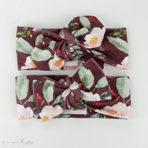 Organic Cotton Bow Knot Headband - Plum Floral