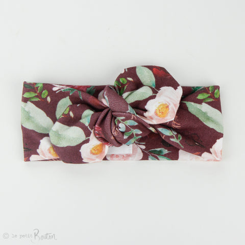 Organic Cotton Top Knot Headband - Plum Floral
