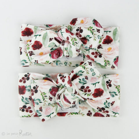 Autumn18 Organic Cotton Bow Knot Headband - Small Plum Roses