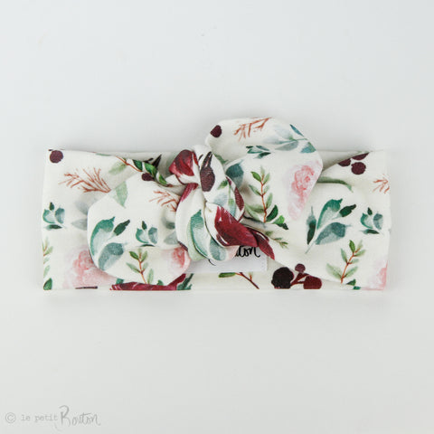 Autumn18 Organic Cotton Top Knot Headband - Large Plum Roses