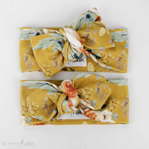 Autumn18 Organic Cotton Bow Knot Headband -  Mustard Forna