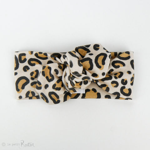 Organic Cotton Top Knot Headband - Leopard Love