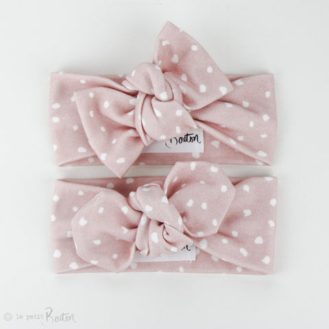 Organic Cotton Top Knot Headband - Dusty Pink Spot It