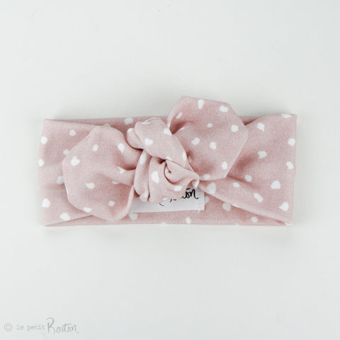 Autumn18 Organic Cotton Top Knot Headband - Dusty Pink Spot It