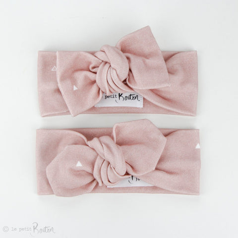 Autumn18 Organic Cotton Bow Knot Headband - Dusty Pink Small Triangle