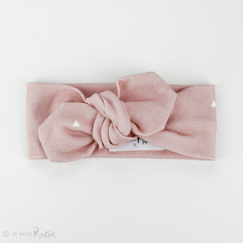 Autumn18 Organic Cotton Top Knot Headband - Dusty Pink Small Triangle