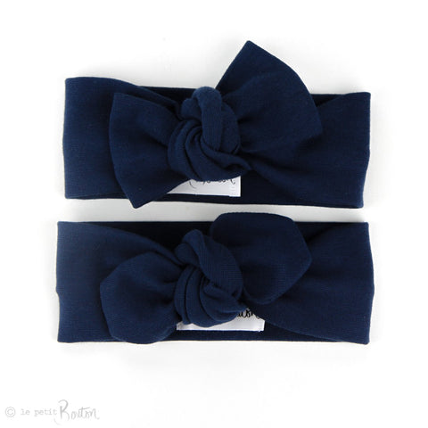 Organic Cotton Ribbed Bow Knot Headband - Light Navy Blue