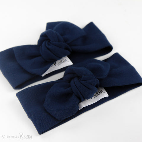 Autumn18 Organic Cotton Ribbed Top Knot Headband - Light Navy Blue